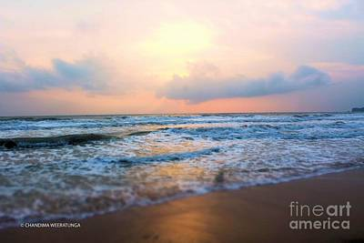 Sunsetting Beach Poster by Chandima Weeratunga