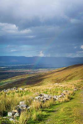 Sunshine And Raining Down With Rainbow On The Countryside In Ire Poster by Semmick Photo