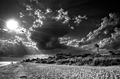 Sunshine On Sanibel Island In Black And White Poster