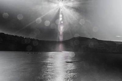 Poster featuring the photograph Sunspots Over Ladybower Black And White by Scott Lyons
