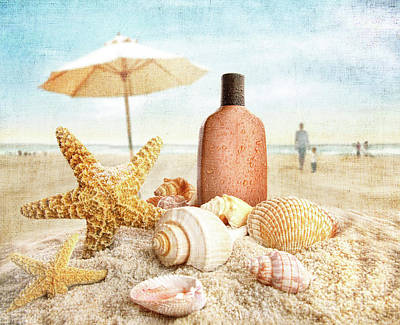 Suntan Lotion And Seashells On The Beach Poster by Sandra Cunningham