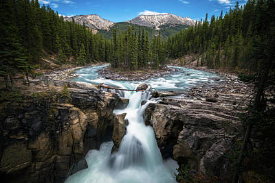 Sunwapta Falls In Jasper National Park Poster by James Udall