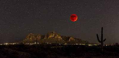 Super Bloodmoon Over The Superstition Mountains Poster by Chuck Brown