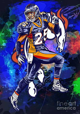 Poster featuring the drawing Super Bowl 2016  by Andrzej Szczerski