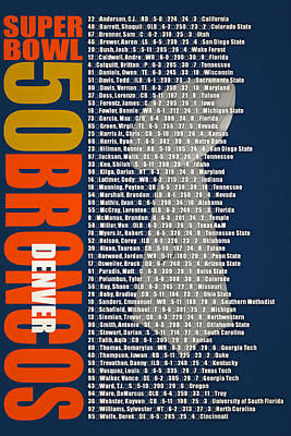 Super Bowl 50 Denver Broncos Roster Poster by Joe Hamilton