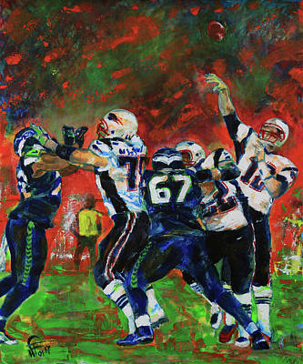 Poster featuring the painting Super Bowl 49 by Walter Fahmy