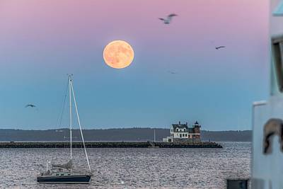 Super Harvest Moon Over Rockland Breakwater Poster