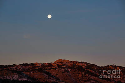 Super Moon And Horsetooth Rock Poster