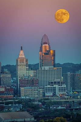 Super Moon Over Great American City Poster by Randall Branham