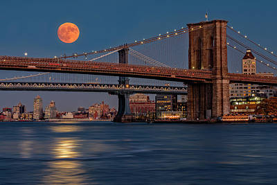 Super Moon Over Manhattan And Brooklyn Bridges Nyc Poster by Susan Candelario