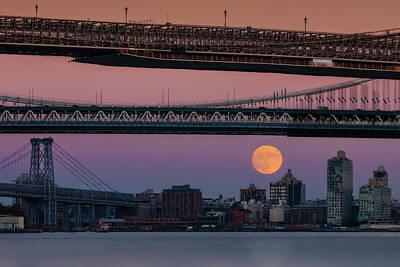 Super Moon Over Manhattan New York City Nyc Bridges Poster
