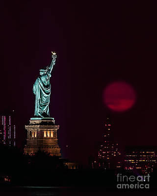 Super Moon Rising And The Statue Of Liberty Poster