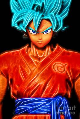 Poster featuring the digital art Super Saiyan God Goku by Ray Shiu