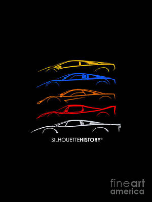 Supercar Of 90s Silhouettehistory Poster by Gabor Vida