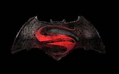 Poster featuring the photograph Superman Vs Batman by Louis Ferreira