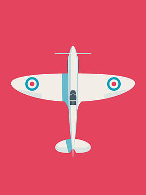 Supermarine Spitfire Raf Fighter Plane - Crimson Poster