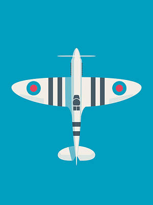 Supermarine Spitfire Wwii Raf Royal Air Force Fighter Aircraft - Stripe Blue Poster