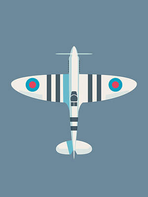 Supermarine Spitfire Wwii Raf Royal Air Force Fighter Aircraft - Stripe Slate Poster