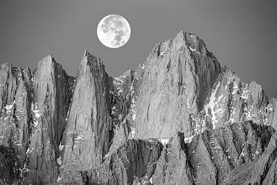 Poster featuring the photograph Supermoon And Mount Whitney. by Johnny Adolphson