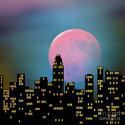 Poster featuring the digital art Supermoon Over The City by Klara Acel