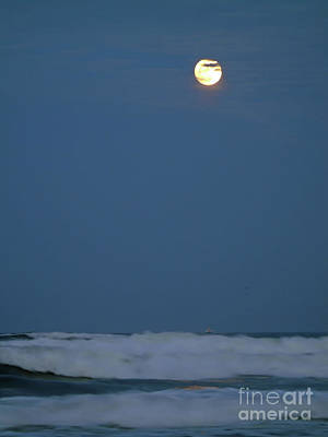 Supermoon Over The Surf Poster