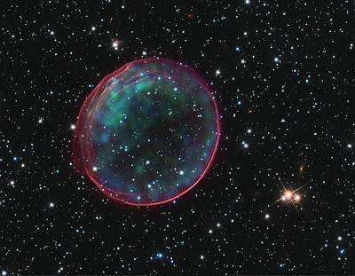 Supernova Bubble Resembles Holiday Ornament Poster