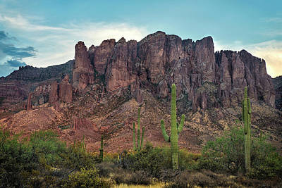 Superstition Mountains And Saguaro Poster
