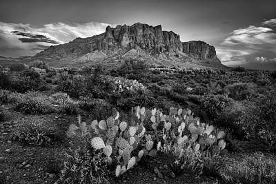 Poster featuring the photograph Superstition Mountains In Black And White by Dave Dilli