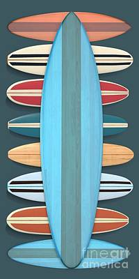 Poster featuring the digital art Surf Boards 5 by Edward Fielding