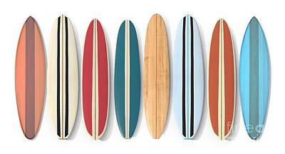 Poster featuring the digital art Surf Boards Row by Edward Fielding