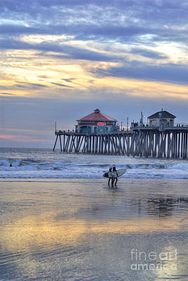 Surf City Huntington Beach Poster by K D Graves