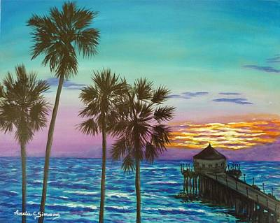 Poster featuring the painting Surf City Sunset by Amelie Simmons
