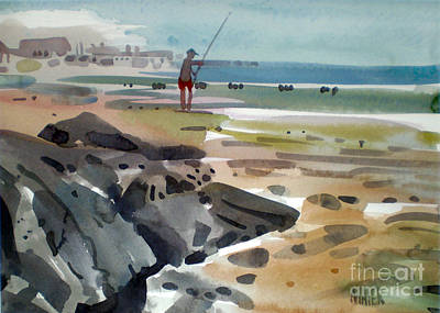 Surf Fishing At Belmar Poster by Donald Maier