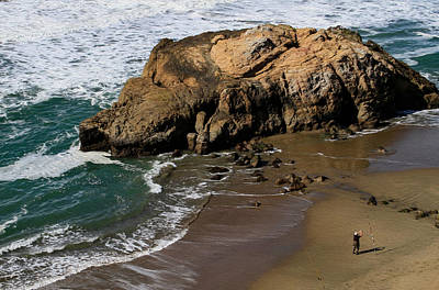 Surf Fishing At Ocean Beach Poster