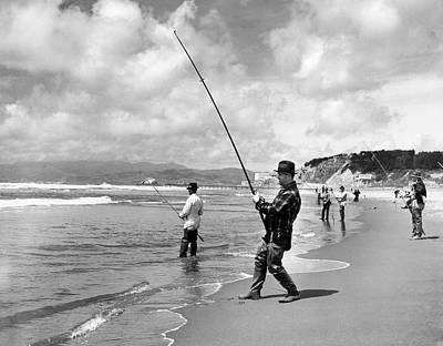Surf Fishing At Ocean Beach Poster by Underwood Archives
