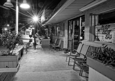 Surf Side Bar At Night In Black And White Poster