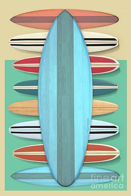 Poster featuring the digital art Surfboards Green Blue Design by Edward Fielding