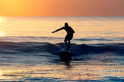 Surfer At Dusk Poster