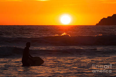 Surfer At Sunset  Poster by Amanda Elwell