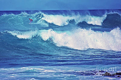Surfer Catching A Wave Poster