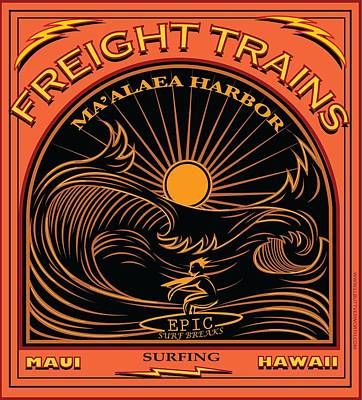 Surfer Freight Trains Maui Hawaii Poster by Larry Butterworth