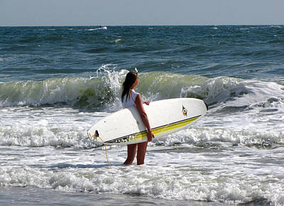 Surfer Girl At Virginia Beach Poster