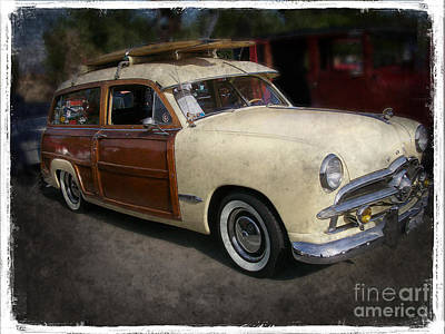 Surfer Wood Panel Car Poster