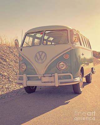 Surfer's Vintage Vw Samba Bus At The Beach 2016 Poster by Edward Fielding