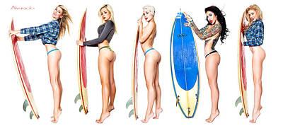 Surfin Girls Poster by Robert Alvarado