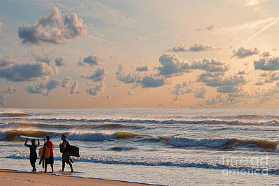 Surfing At Sunrise On The Jersey Shore Poster
