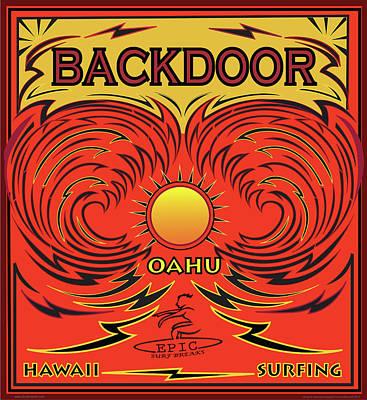Surfing Backdoor Oahu Hawaii Poster by Larry Butterworth