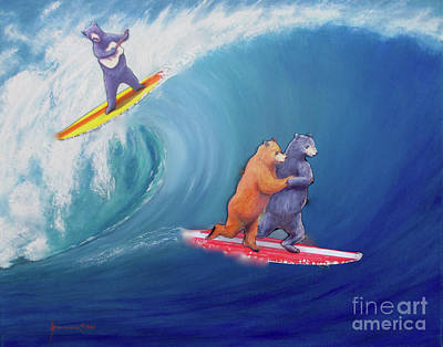 Surfing Bears Poster by Jerome Stumphauzer