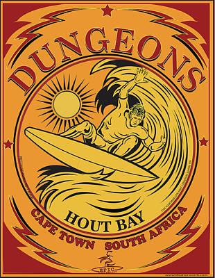Surfing Dungeons Cape Town South Africa Poster by Larry Butterworth