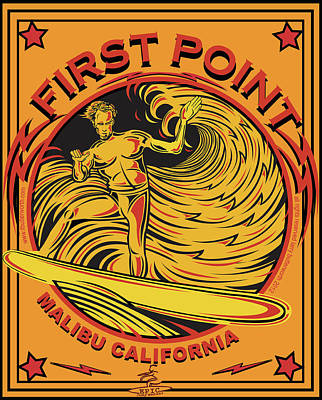 Surfing First Point Malibu California Poster by Larry Butterworth